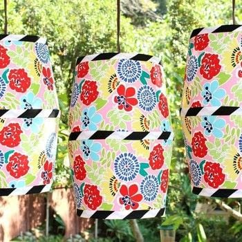 Make a pendant lamp to match any room!   .  Free tutorial with pictures on how to make a hanging light in under 120 minutes by decorating, decoupaging, dressmaking, upholstering, and not sewing with e-6000 glue, e-6000 spray adhesive, and lamp shade. How To posted by Mark Montano.  in the Decorating section Difficulty: Simple. Cost: Cheap. Steps: 3