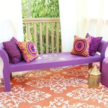 Boho Bench DIY .  Free tutorial with pictures on how to make a bench in under 120 minutes by decorating, embellishing, and stencilling with bench, americana decor satin enamels, and americana decor metallics. How To posted by Mark Montano.  in the Decorating section Difficulty: Easy. Cost: Cheap. Steps: 3