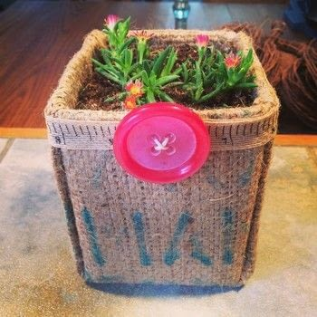 Nothing says summer like simple upcycling projects and succulents. .  Free tutorial with pictures on how to paint a painted flower pot in under 60 minutes by not sewing with burlap, container, and glue gun. How To posted by Denise.  in the Home + DIY section Difficulty: Simple. Cost: Cheap. Steps: 10