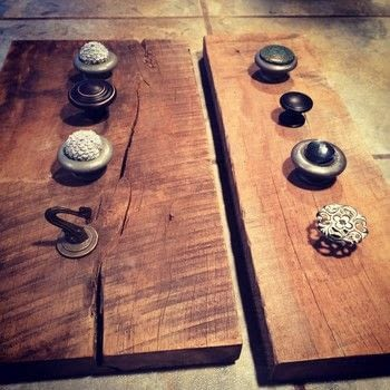 Turn 'junk' into an awesome jewelry, key or scarf organizer in a jiffy .  Free tutorial with pictures on how to make a hook or rack in under 60 minutes by woodworking with wood, saw, and drawer pulls. How To posted by Denise.  in the Home + DIY section Difficulty: Simple. Cost: Cheap. Steps: 9
