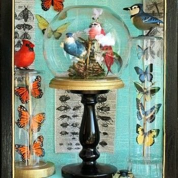 Make a museum worthy display with dollar store items!  .  Free tutorial with pictures on how to make a framed decoration in under 60 minutes by creating, spraypainting, embellishing, papercrafting, decoupaging, woodworking, , and  with e-6000 glue, twigs , and vases. How To posted by Mark Montano.  in the Decorating section Difficulty: Easy. Cost: Cheap. Steps: 3