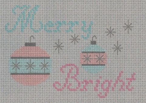Merry and Bright .  Free tutorial with pictures on how to cross stitch  in 5 steps by needleworking and cross stitching with aida cloth, embroidery needle, and dmc floss. Inspired by christmas and vintage & retro. How To posted by SSaunders.  in the Needlework section Difficulty: 3/5. Cost: Absolutley free.