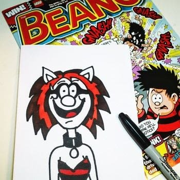 How-to draw Crafterella in the style of the Beano .  Free tutorial with pictures on how to draw & paint a piece of character art in under 10 minutes by creating and drawing with paper and marker pen. Inspired by comic books and crafterella. How To posted by Cat Morley.  in the Art section Difficulty: Simple. Cost: Cheap. Steps: 25