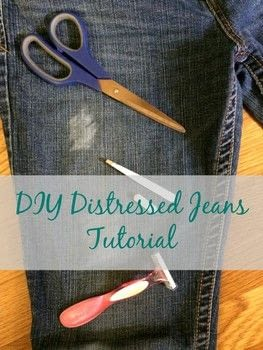 DIY Distressed Jeans .  Free tutorial with pictures on how to rip a pair of ripped jeans in under 30 minutes using scissors, jeans, and tweezers. How To posted by Mary H.  in the Other section Difficulty: Easy. Cost: No cost. Steps: 4