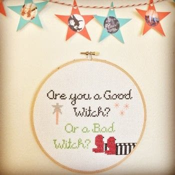 Are you a good witch? Or a bad witch? .  Free tutorial with pictures on how to cross stitch  in 3 steps by needleworking, cross stitching, and needlepointing with aida cloth, embroidery floss, and embroidery hoop. Inspired by halloween, movies, and witches & wizards. How To posted by SSaunders.  in the Needlework section Difficulty: Simple. Cost: Absolutley free.
