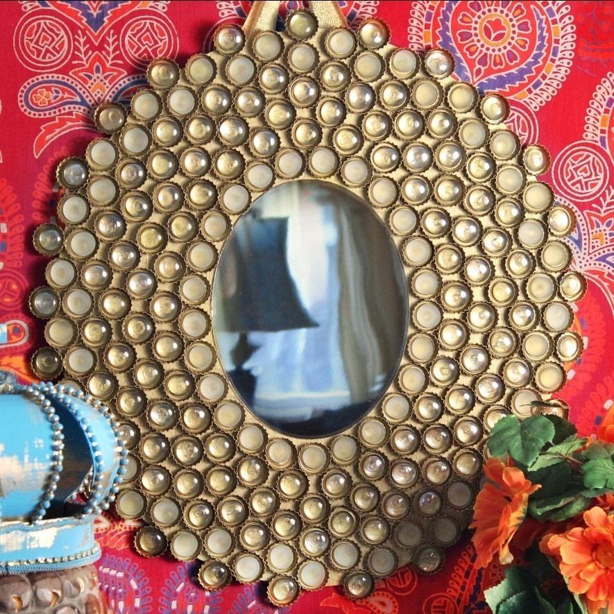 bottle cap boho mirror how to make a wall mirror home diy on