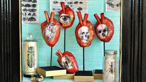 Make paper máché anatomical hearts .  Free tutorial with pictures on how to make a piece of paper art in under 120 minutes by creating, decorating, embellishing, papercrafting, collage, decoupaging, and Papier-mâchéing with newspaper, americana decoupage, and plastic bags. How To posted by Mark Montano.  in the Art section Difficulty: Simple. Cost: Absolutley free. Steps: 3
