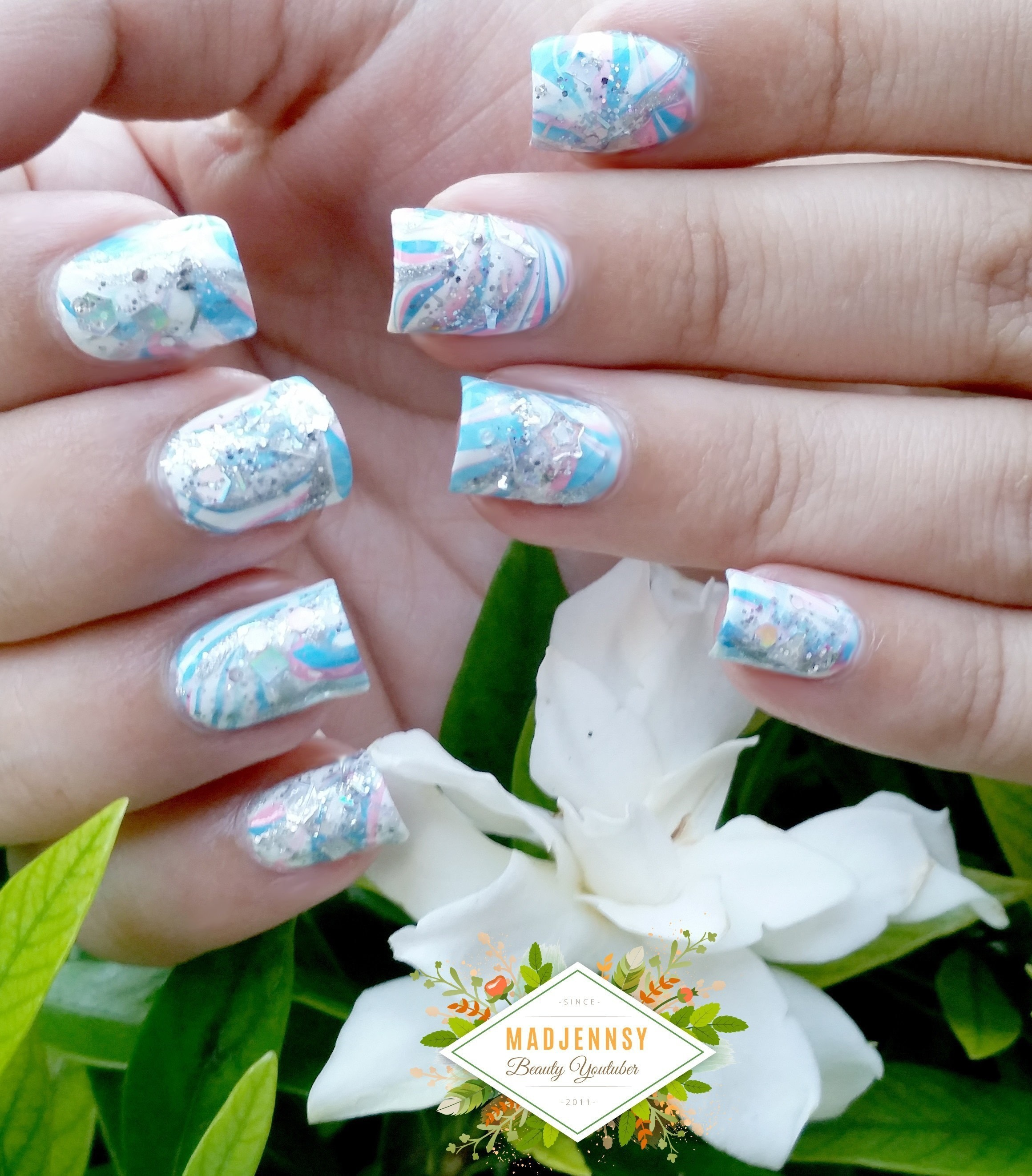 Japanese Water Marble Inspired Nail Art · How To Paint A Marbled ...