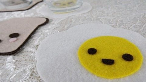Make cute coasters! No sew! .  Free tutorial with pictures on how to make a coaster in under 15 minutes using felt, silicone glue, and scissors. Inspired by kawaii. How To posted by bora FAZER.  in the Home + DIY section Difficulty: Easy. Cost: Absolutley free. Steps: 1