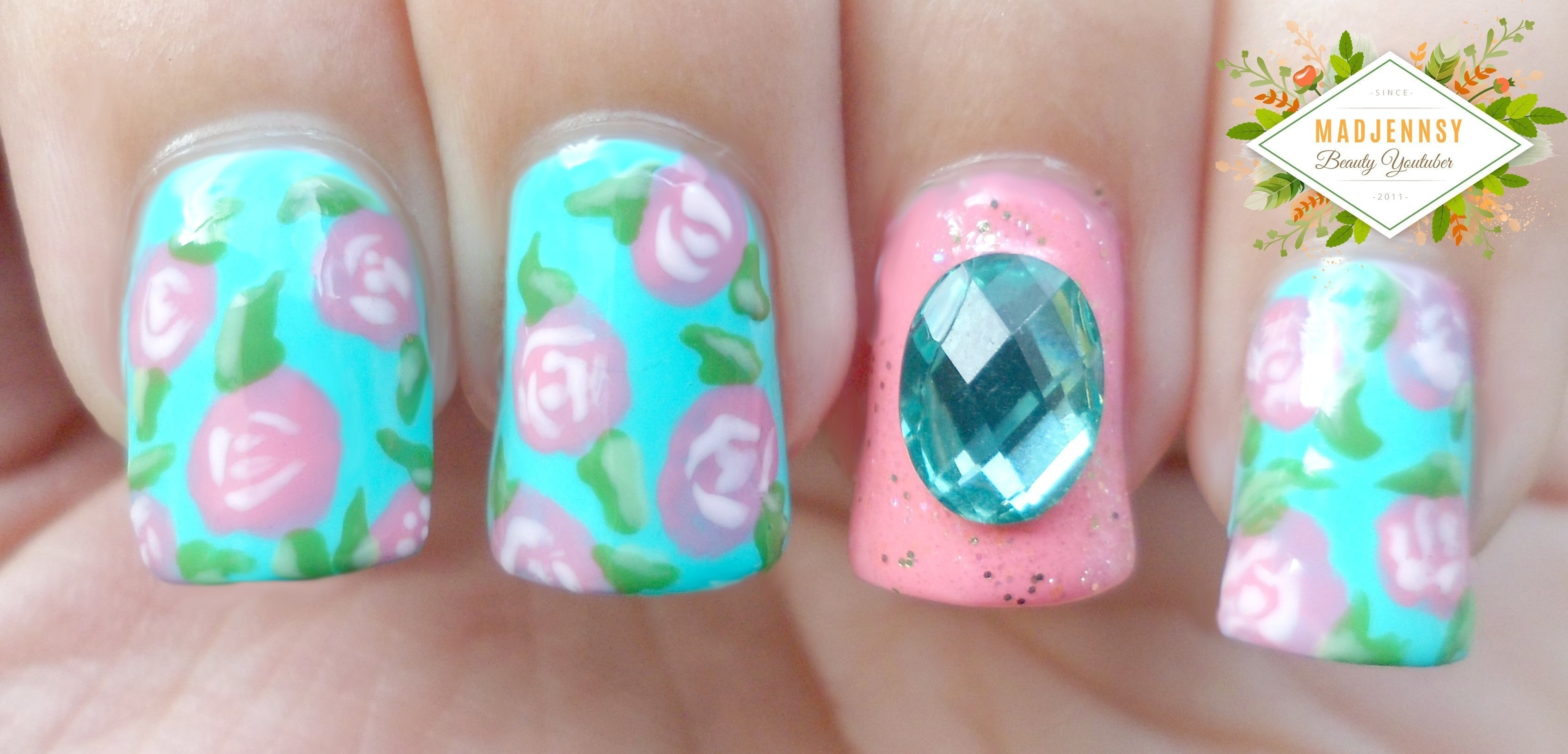 Vintage Roses Nail Art · How To Paint Patterned Nail Art · Beauty on ...