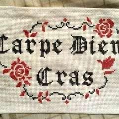 "Latin ""Carpe Diem Cras"" Cross Stitch Embroidery"