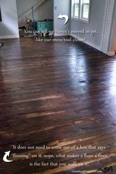 It doesn't need to come out of a box to be a beautiful wood floor! .  Free tutorial with pictures on how to make a decoration in 6 steps using brad, wood stain, and polyurethane. Inspired by homeware. How To posted by GrandmasHouseDIY.  in the Home + DIY section Difficulty: 4/5. Cost: 3/5.