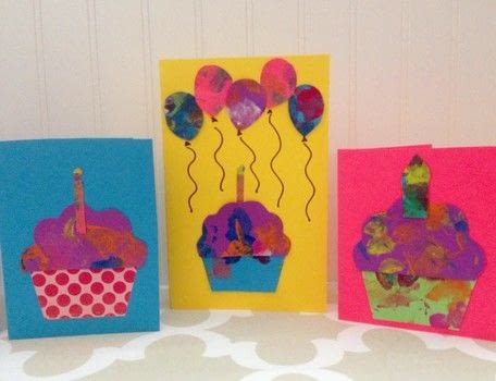 Making Cute Cards from Kids' Paintings .  Make a collages in under 60 minutes by papercrafting with scissors, marker pen, and cardstock. Creation posted by justmeasuringup.  in the Papercraft section Difficulty: Easy. Cost: Absolutley free.