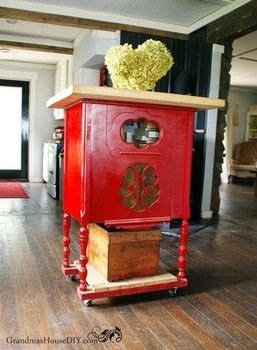 An Antique Radio Stand Converted Into A Red Kitchen Island! · A ...