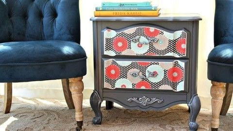 Roadside Rescue with fabric and paint .  Free tutorial with pictures on how to make a bedside table in under 120 minutes by spraypainting, decorating, papercrafting, decoupaging, upholstering, and not sewing with furniture, americana decor satin enamels, and decoart metallic lustres. How To posted by Mark Montano.  in the Decorating section Difficulty: Easy. Cost: Cheap. Steps: 3