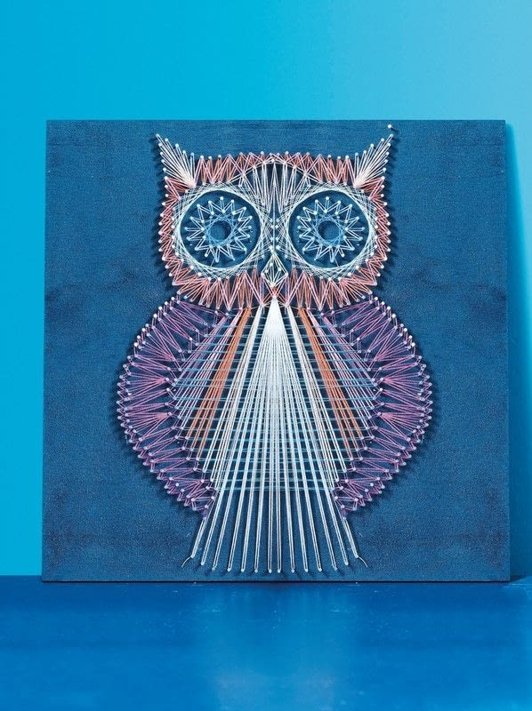 string art owl extract from string craft by lucy hopping how to make string art. Black Bedroom Furniture Sets. Home Design Ideas