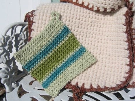 A sturdy double-faced, double-thick type of crochet that's an old favorite with those in the know. .  Free tutorial with pictures on how to make a crochet in under 60 minutes by crocheting with worsted yarn and crochet hook. Inspired by for mums, for grandmothers, and kitchen. How To posted by vashti b.  in the Yarncraft section Difficulty: Simple. Cost: Absolutley free. Steps: 5
