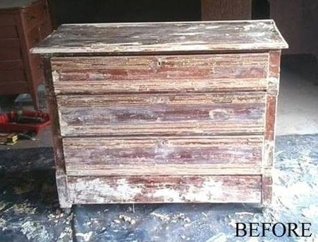 Quite the transformation into a red beauty! .  Make a dressing table using sand paper and stain. Inspired by paint palette. Creation posted by GrandmasHouseDIY.  in the Home + DIY section Difficulty: Easy. Cost: Absolutley free.