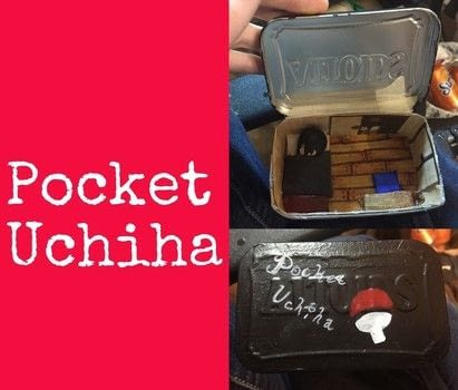 Uchiha in my pocket (or tin) .  Make a mint tin for trinkets in under 180 minutes by creating, drawing, constructing, decorating, embellishing, papercrafting, and paper folding with altoid tin, cardboard, and masking tape. Inspired by house. Creation posted by Kinhime Dragon.  in the Other section Difficulty: 3/5. Cost: No cost.