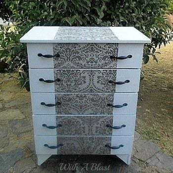 Easily turn an old dresser into a stunning piece with a little leftover paint and some leftover wall paper .  Free tutorial with pictures on how to make a dressing table in under 120 minutes by decorating with paints, wallpaper, and wallpaper glue. How To posted by Linda @With A Blast.  in the Decorating section Difficulty: Easy. Cost: No cost. Steps: 3