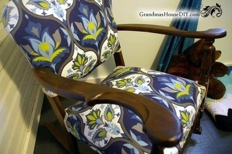 An old rocking chair goes from dated to stunning! .  Make a chair in under 180 minutes Inspired by vintage & retro. Creation posted by GrandmasHouseDIY.  in the Home + DIY section Difficulty: Simple. Cost: Absolutley free.