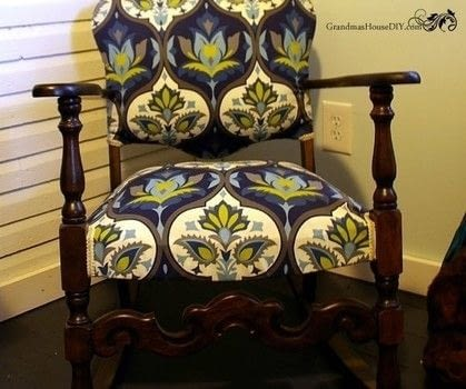 An old rocking chair gets a glam makeover! .  Make a chair in under 180 minutes Inspired by vintage & retro. Creation posted by GrandmasHouseDIY.  in the Home + DIY section Difficulty: Easy. Cost: Cheap.