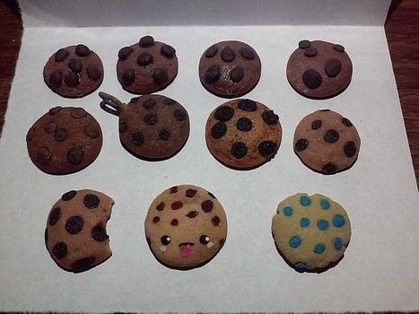 Cold porcelain food charms  .  Mold a piece of clay food in under 10 minutes using sculpting tools, porcelain, and paints. Inspired by cookies, pizza, and donuts. Creation posted by DeadGirl.  in the Art section Difficulty: Simple. Cost: No cost.
