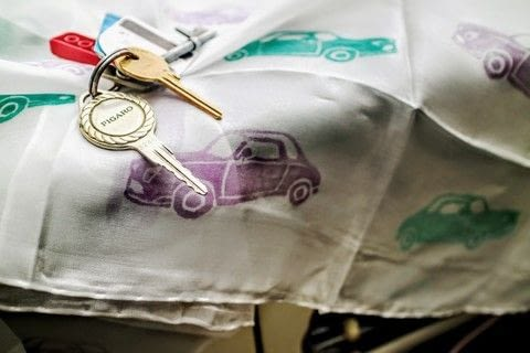 Print a silk driving scarf with your favourite vintage car! .  Free tutorial with pictures on how to make a silk scarf in under 45 minutes by stamping with rubber, carving tool, and tracing paper. Inspired by nissan figaro. How To posted by Cat Morley.  in the Decorating section Difficulty: Simple. Cost: Cheap. Steps: 9