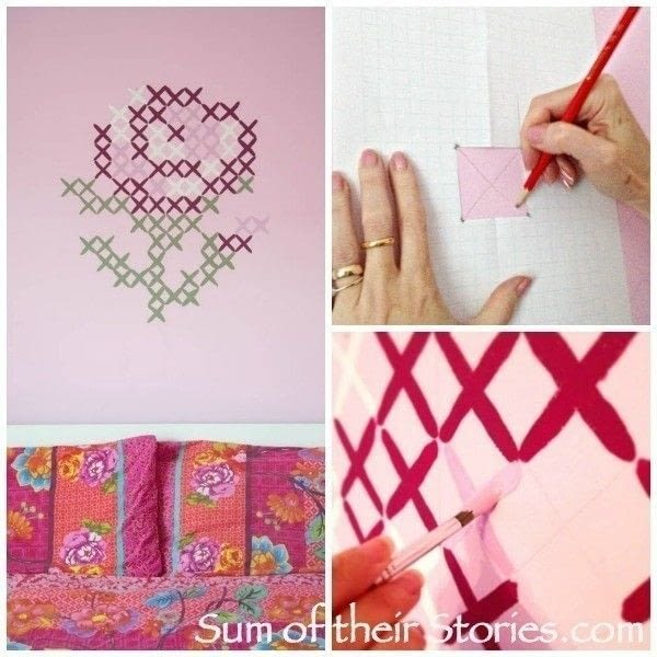 Simple cross stitch mural how to make wallpaper a wall for Cross stitch wall mural