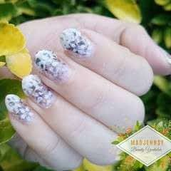 Monochrome Fading Foliage Stamping Nail Art