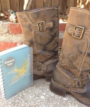 Embellish an old pair of boots with a stenciled image .  Make a boot in under 60 minutes using marker pen, stencil, and boots. Creation posted by PlaidCrafter.  in the Other section Difficulty: Easy. Cost: Absolutley free.