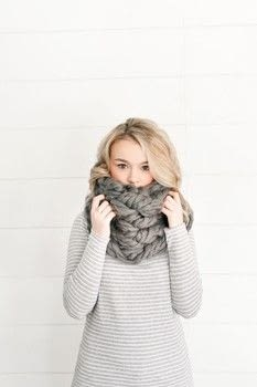 Arm Knitting .  Free tutorial with pictures on how to make a cowl in under 20 minutes by knitting with super chunky yarn and scissors. How To posted by DK Books.  in the Yarncraft section Difficulty: Simple. Cost: Cheap. Steps: 5