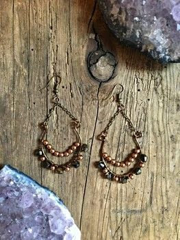 Make a funky pair of wire wrapped beaded earrings .  Free tutorial with pictures on how to make a dangle earring in under 60 minutes by jewelrymaking and wireworking with beads, jump rings, and chain. Inspired by bohemian. How To posted by Adrienne the Crafty Little Gnome.  in the Jewelry section Difficulty: 4/5. Cost: Cheap. Steps: 5