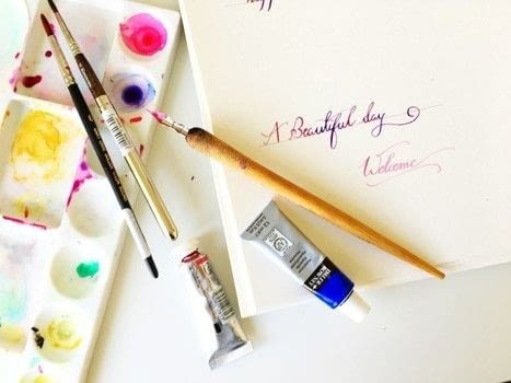 Create Calligraphy Using Watercolor  .  Free tutorial with pictures on how to draw a piece of calligraphy in under 15 minutes using watercolor. How To posted by Drishti D.  in the Art section Difficulty: Easy. Cost: No cost. Steps: 5