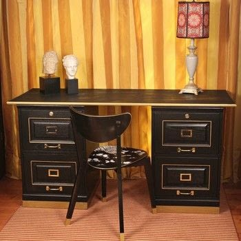 Make A Desk!  .  Free tutorial with pictures on how to make a desk in 3 steps by creating, spraypainting, molding, decoupaging, stencilling, and woodworking with 2 filing cabinets, americana decor satin enamels, and americana decor metallics. How To posted by Mark Montano.  in the Home + DIY section Difficulty: Simple. Cost: Cheap.