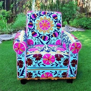 .  Free tutorial with pictures on how to make a chair in 4 steps by decorating, embellishing, and not sewing with embroidered suzani fabric, e-6000 fabri-fuse, and cotton fabric. How To posted by Mark Montano.  in the Home + DIY section Difficulty: 4/5. Cost: 4/5.