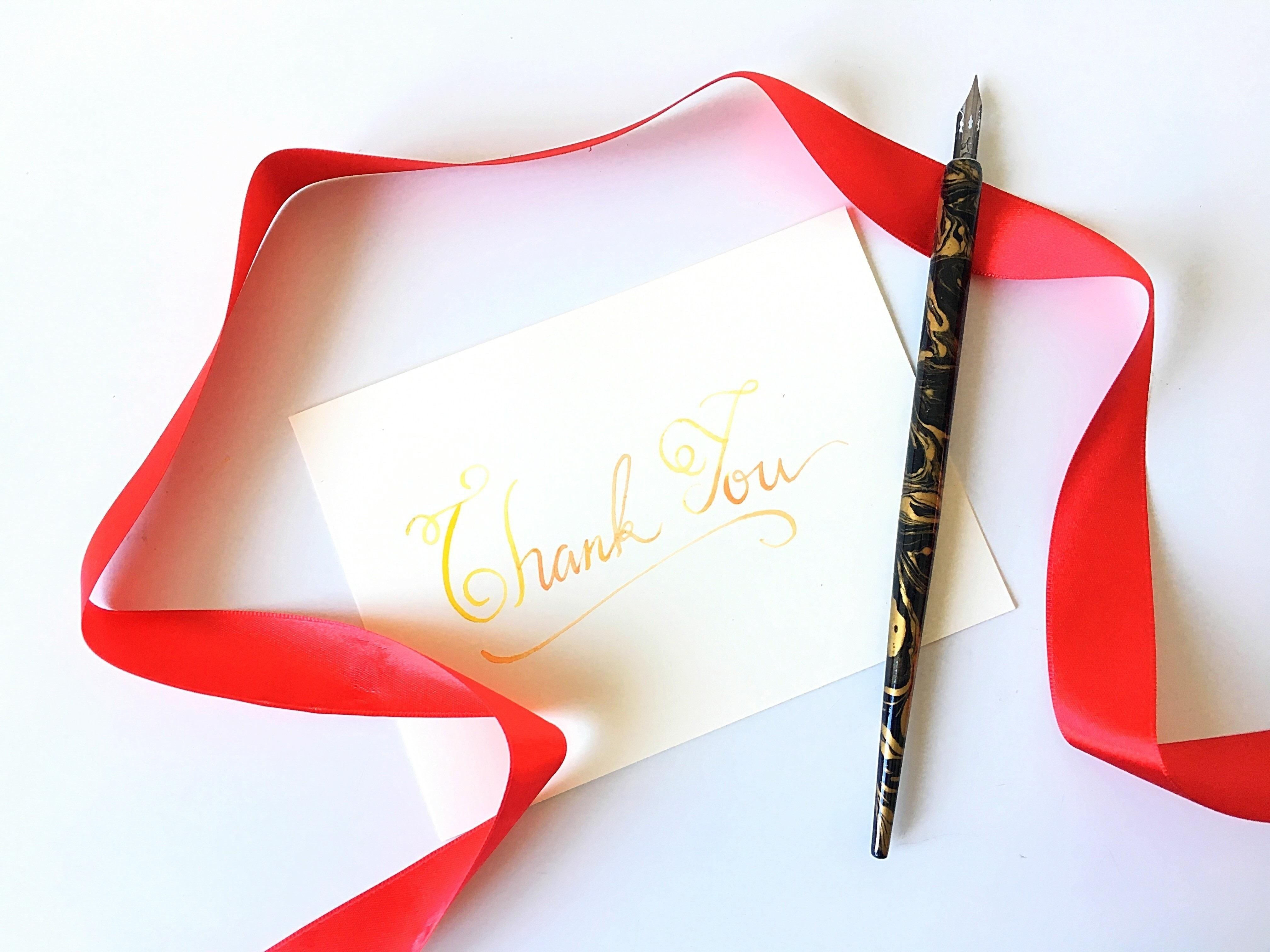 Thank You Card Using Watercolor Calligraphy How To Make A