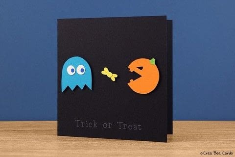 Create this funny Halloween Pac-Man card .  Free tutorial with pictures on how to make a greetings card in under 30 minutes by papercrafting, cardmaking, and scrapbooking with pencil, craft knife, and eraser. Inspired by halloween, fun & games, and computer games. How To posted by Crea Bea Cards.  in the Papercraft section Difficulty: Simple. Cost: Cheap. Steps: 1