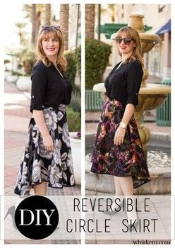 Create a twirly circle skirt with 2 separate looks! .  Free tutorial with pictures on how to make a circle skirt in under 180 minutes by sewing and dressmaking with fabric, thread, and zipper. How To posted by BonnieWhiskem.  in the Sewing section Difficulty: 3/5. Cost: No cost. Steps: 8