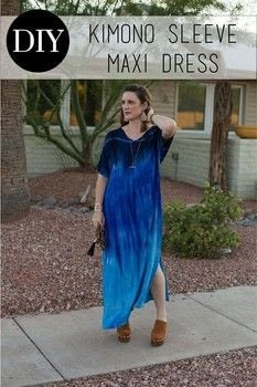 Embrace the 70's trend with this floxy maxi dress! .  Free tutorial with pictures on how to make a kimono in under 120 minutes by sewing and dressmaking with fabric, thread, and bias tape. How To posted by BonnieWhiskem.  in the Sewing section Difficulty: Simple. Cost: No cost. Steps: 3