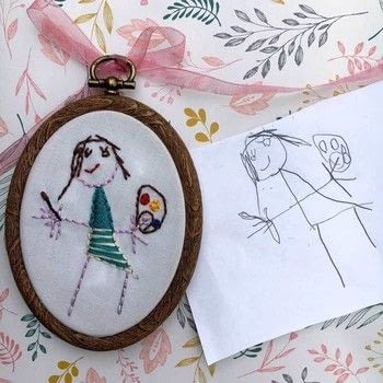 Use your child's artwork to create an adorable keepsake .  Free tutorial with pictures on how to embroider art in under 120 minutes using embroidery thread, pencil, and embroidery needle. How To posted by Pam  A.  in the Needlework section Difficulty: Simple. Cost: No cost. Steps: 6