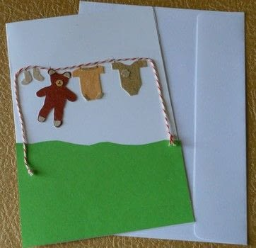Homemade birth card .  Make a papercraft in under 20 minutes by decoupaging and cardmaking with glue, cardboard, and string. Inspired by baby showers. Creation posted by campaspe.  in the Papercraft section Difficulty: Easy. Cost: Absolutley free.