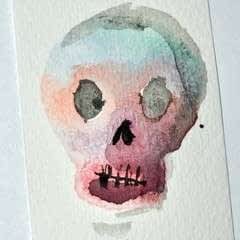 Sugar Skull Inspired Stamp And Watercolor Prints