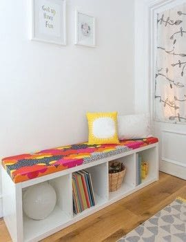 I Modify IKEA .  Free tutorial with pictures on how to make a bench in under 180 minutes by decorating with shelving unit, fiberboard, and upholstery foam. Inspired by ikea. How To posted by Ulysses Press.  in the Home + DIY section Difficulty: Simple. Cost: No cost. Steps: 7