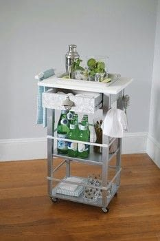 I Modify IKEA .  Free tutorial with pictures on how to make a bar cart in under 90 minutes by constructing with table, tape measure, and saw. How To posted by Ulysses Press.  in the Home + DIY section Difficulty: 3/5. Cost: 3/5. Steps: 8