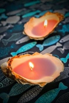 Turn sea shells into nautical inspired candles! .  Free tutorial with pictures on how to make a shell candle in under 15 minutes by decorating with shell, wick, and candle. How To posted by Cat Morley.  in the Home + DIY section Difficulty: Simple. Cost: Cheap. Steps: 10