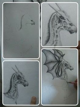 I combined the steps in a collage  .  Draw & Paint a piece of animal art in under 120 minutes by drawing with pencil. Inspired by harry potter. Creation posted by Riya K.  in the Art section Difficulty: 3/5. Cost: No cost.