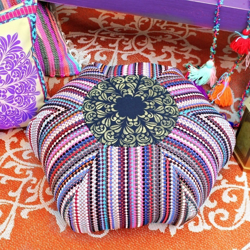 Rag Rug Floor Pouf How To Make A Shaped Cushion Sewing On Cut