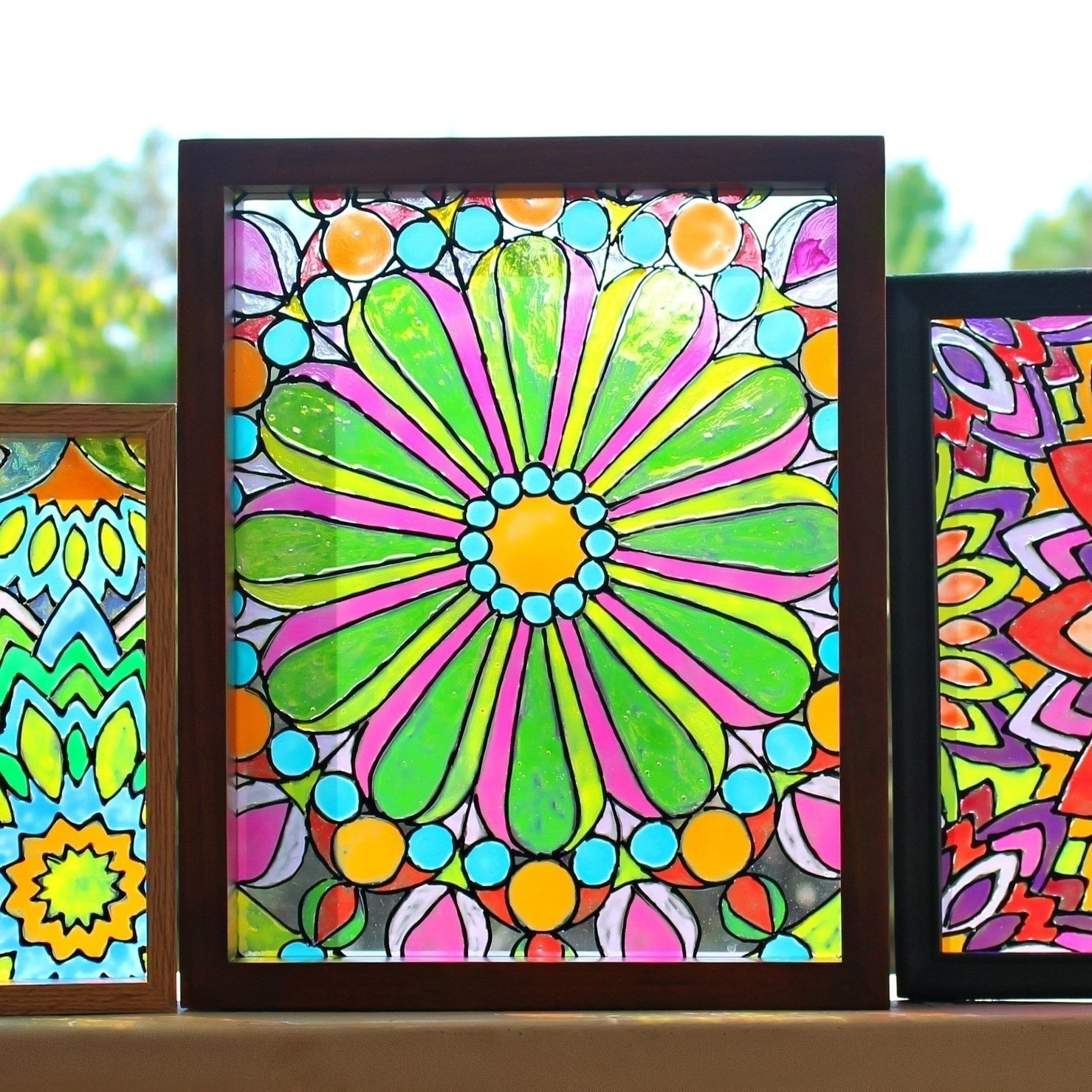 Faux Stained Glass Mandalas How
