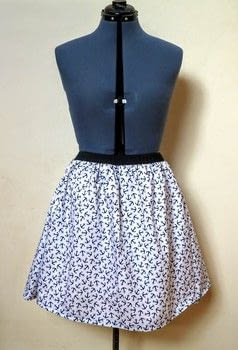 Sew a quick and simple sailor skirt! .  Free tutorial with pictures on how to sew a gathered skirt in under 120 minutes by sewing and dressmaking with skirt, pins, and fabrics. Inspired by nautical. How To posted by Cat Morley.  in the Sewing section Difficulty: 3/5. Cost: Cheap. Steps: 10